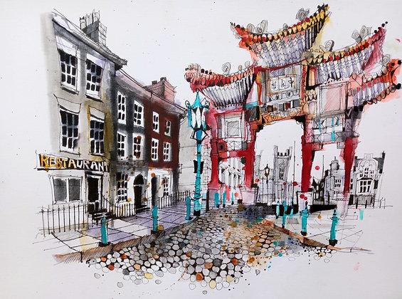 Chinatown Liverpool,Original Painting