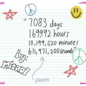 7083 days. 169,992 hours. 10,199,520 minutes. 611,971,200 seconds.