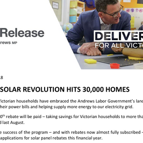 Victoria's Solar Homes Rebate to be Capped Due to High Demand