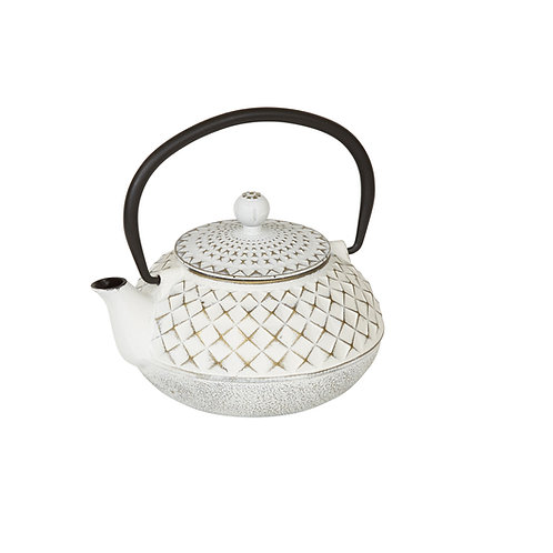 CWE020 Cast Iron Tea Pot Ivory & Gold 0.5 ltrs