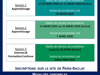 [INSCRIPTION] Dates des sessions de recrutement 2020-2021