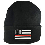 Thin Blue Line Red Patch Beanie Cap