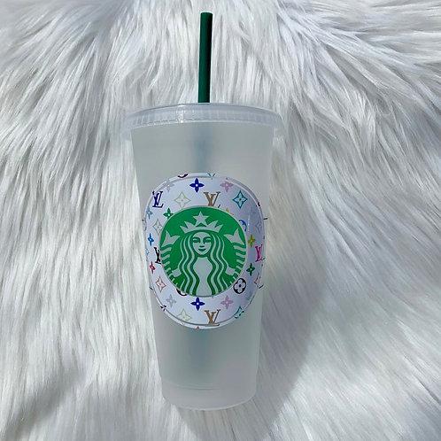 White Multicolor Monogram Cold Cup