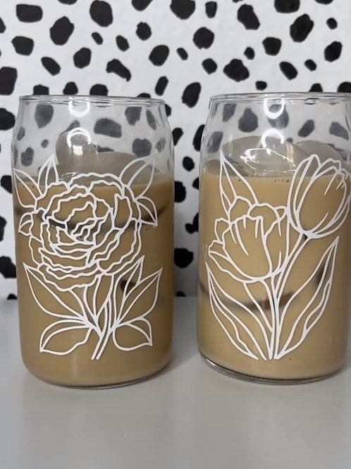 Floral Glass Can