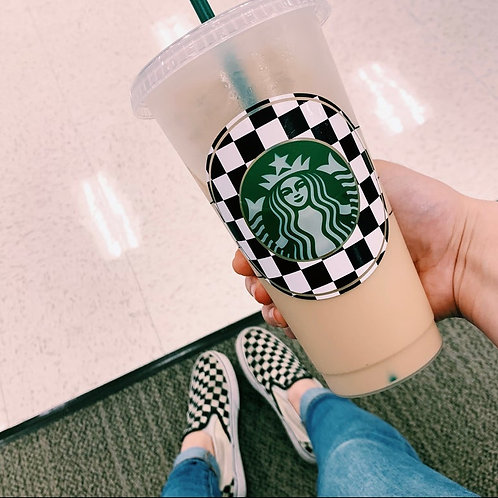 Black & White Checkered Cold Cup