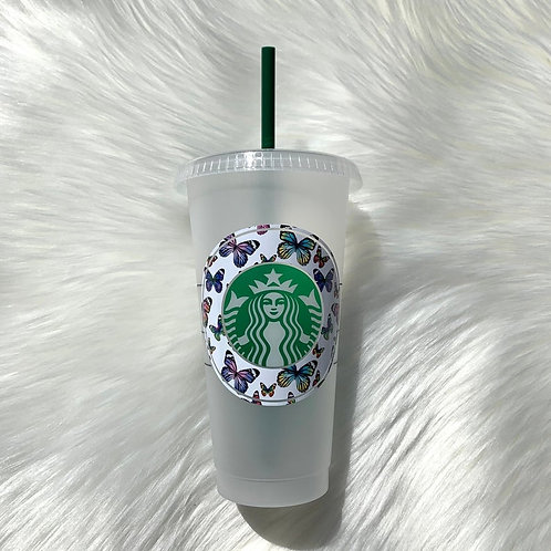 Butterflies On White Cold Cup