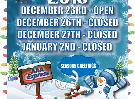 Here Is Our Holiday Hours for December