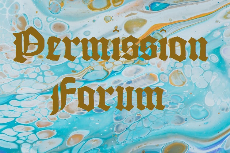 """Bright Aqua, Pale Blue, And Orange Paint Marbling With The Words """"Permission Forum"""" In Gutenburg Old-Style Font In Deep Brass Gold Written On It Relationship Break-Up Self Improvement Lifestyle Advice Blog Fabsolutely Co"""