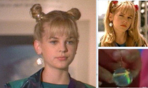 Screenshots Of Disney's Zenon, Girl Of The 21st Century Disney Channel Movie: Zenon In Double Buns Wearing Holographic Disk Earring, Close-Up Of Holographic Disk Earring