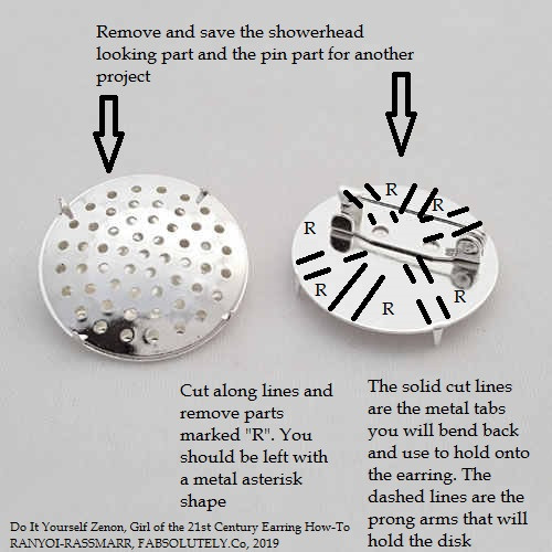 Illustration Of Where To Cut On The Disk Holder Pin For Simple Plaid-Holographic Disk Earring Relationship Break-Up Self Improvement Lifestyle Advice Blog Fabsolutely Co