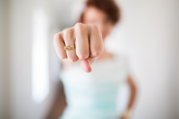 Bokeh Blurred Bright White Background White Person In Blue Shirt Putting A Fist In Your Face Gold Ring Says I Am Kick Ass How To Stop Being Angry At Your Ex Relationship Break-Ups Relationship Blog Fabsolutely Co