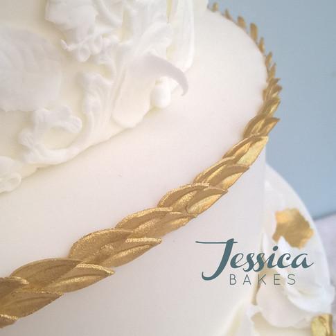 Large White & Gold Baroque Wedding Cake