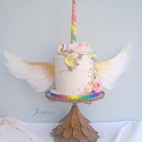 Winged unicorn cake