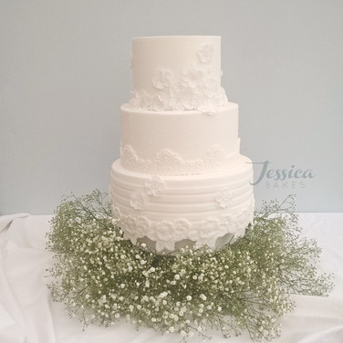 White Lace Couture wedding cake