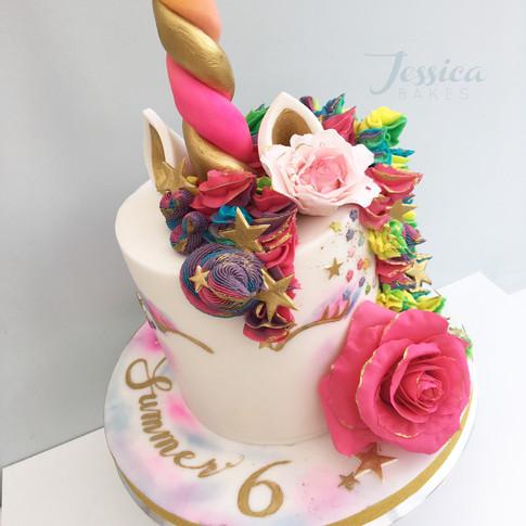 Rainbow Bright Unicorn cake in fondant