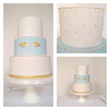 Blue and White Monogram cake