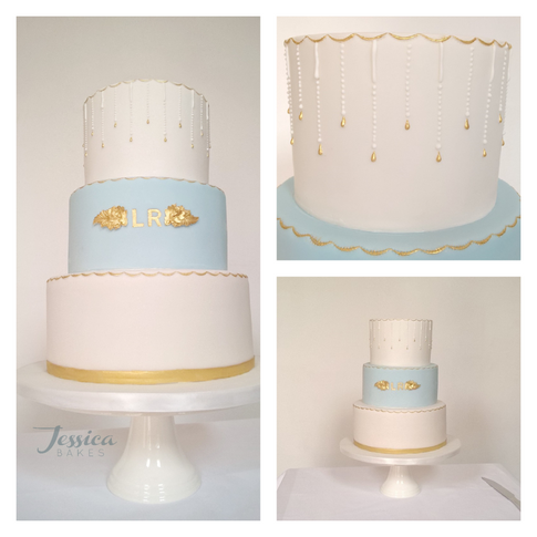Blue and White Monogram cake
