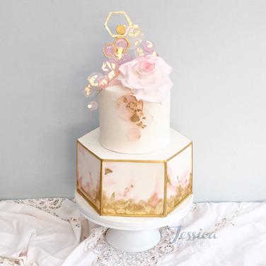 Hexagonal Rose wedding cake