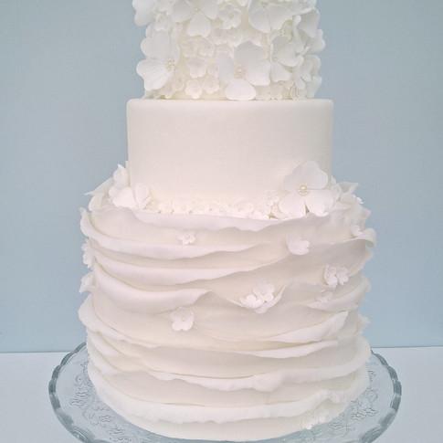 White Ruffle Blossom Wedding Cake