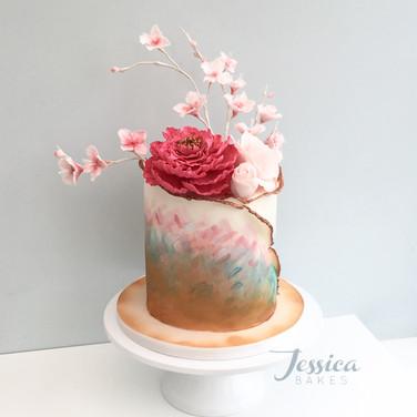 Cherry Blossom Rain cake in fondant