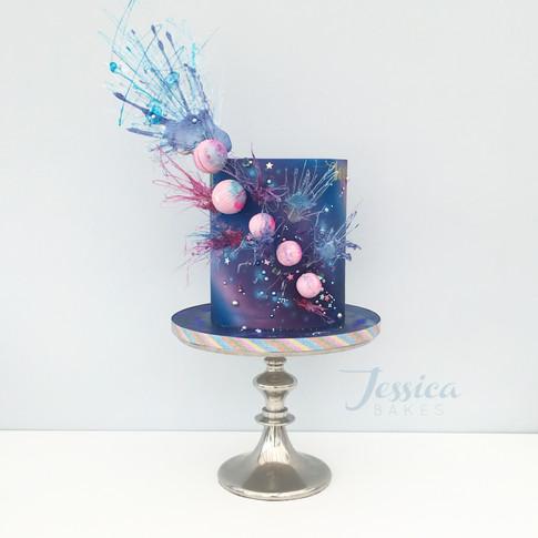 Galaxy themed cake in fondant