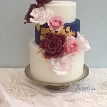 Navy and Gold Rose Wedding Cake