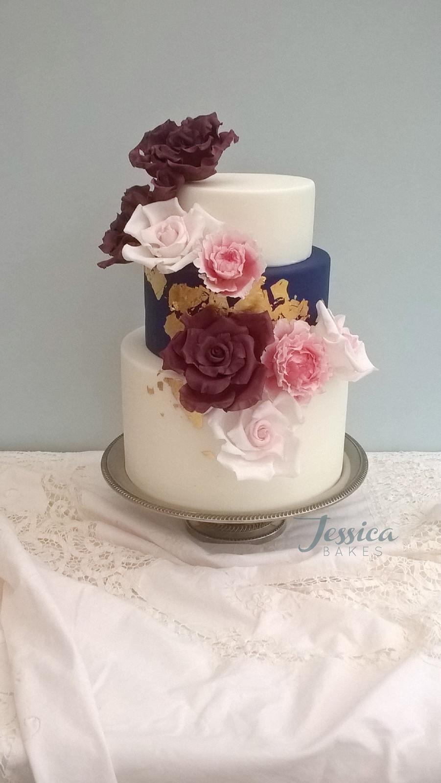 Navy And Gold Rose Wedding Cake 750