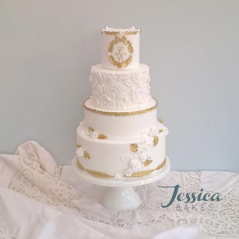 Baroque Monogram wedding cake