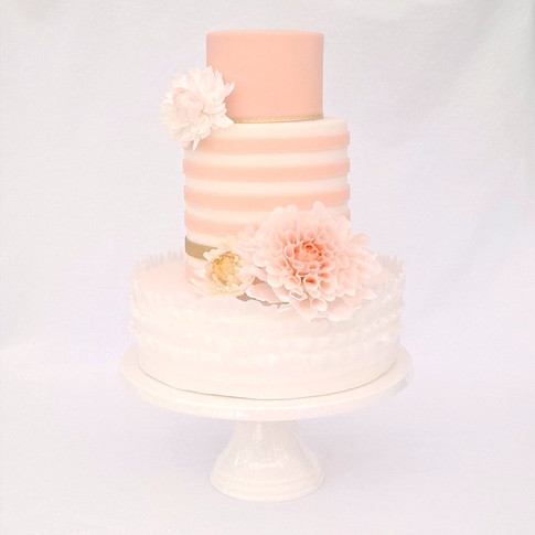 Dahlia stripe Wedding Cake