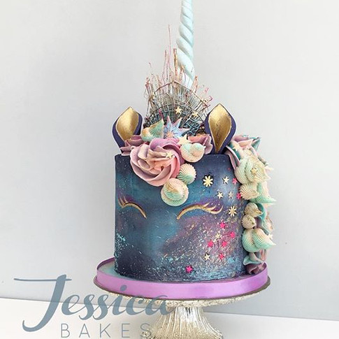 Galaxy Unicorn Cake in buttercream