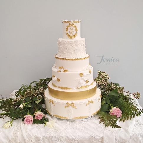 Large White & Gold Baroque Wedding Cake