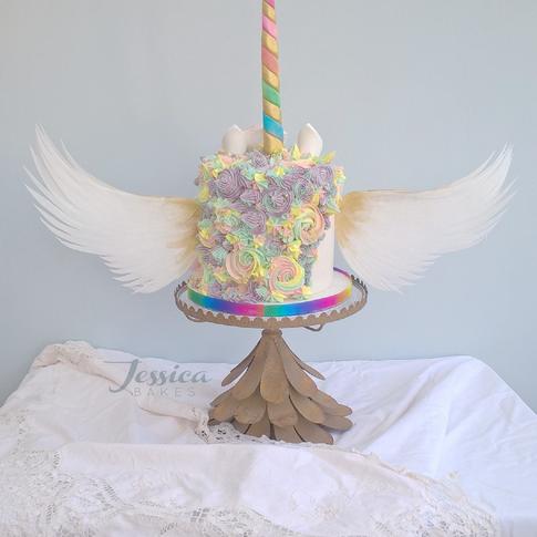 Winged unicorn cake, exclusive deign by Jessica Bakes Birmingham, West Midlands.