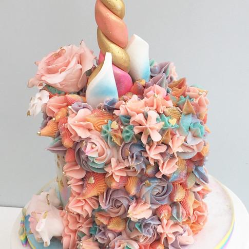 Rainbow unicorn cake.