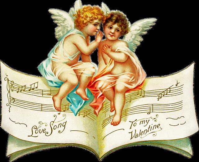 anges sur une partition musicale pour saint valentin