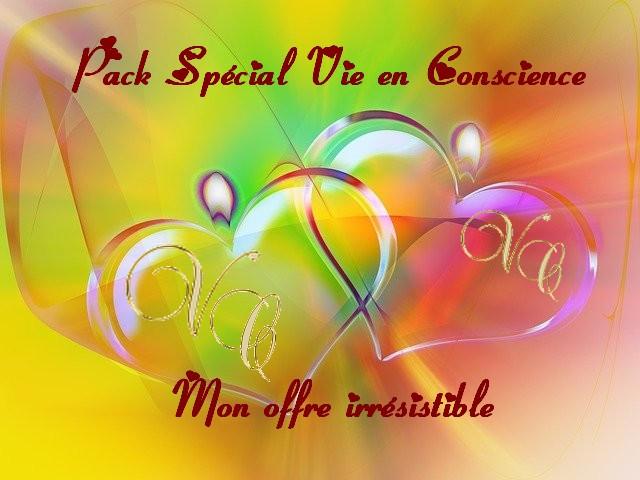 offre pack spécial vie en conscience avec coeurs sur fond d'arc en ciel et sigle VC pour vie en conscience