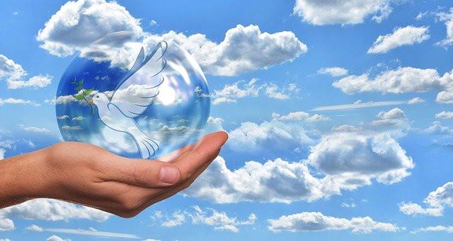 main tenant une bulle protectrice avec colombe de la paix, paix intérieure, méditation, prière, champ des possibles, ombre et lumière, yin et yang, moi supérieur
