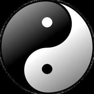 symbole du yin et du yang en noir et blanc