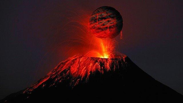 volcan en éruption, lave, boue, rouge, colère, covid19