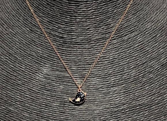 Collana argento placcato oro ciondolo uccellino nero