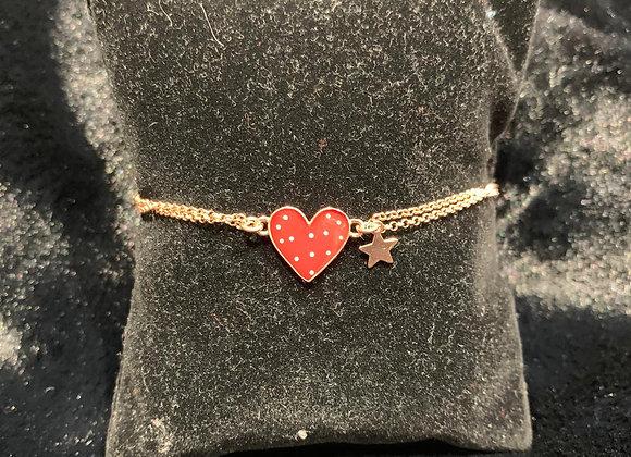Bracciale in argento placcato oro con cuore rosso smaltato Versari Accessories