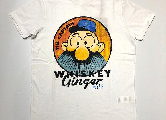 T-shirt uomo bianca stampa the captain