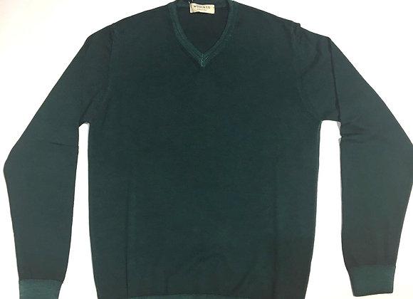 Pullover verde scuro scollo V 100% merinos Wool & Co.