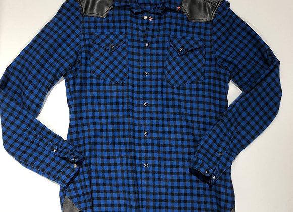 Camicia scozzese inserto ecoepelle Berna