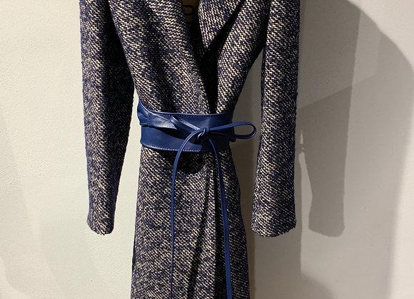 Cappotto blu con fusciacca pelle Niù Fashion