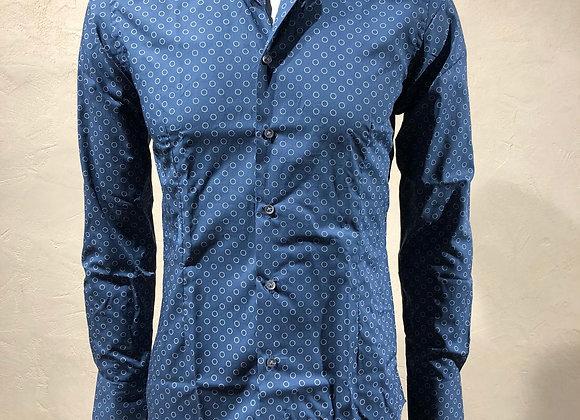 Camicia uomo blu cerchietti bianchi Brancaccio