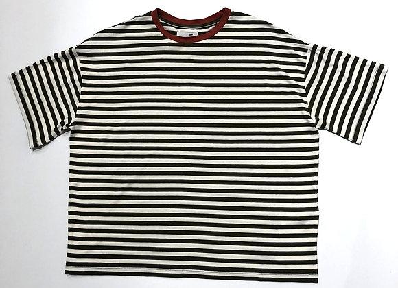 T-shirt over riga verde bordo mattone Niu