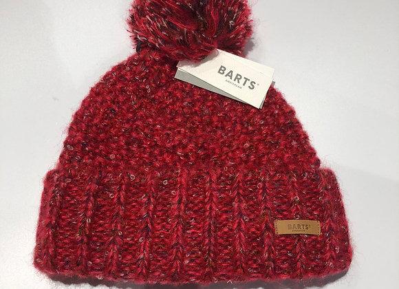 Cuffia donna pompon tricot rosso Barts