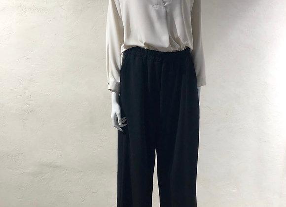 Pantaloni morbidi culotte neri con elastico in vita