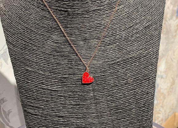 Collana in argento placcato oro con cuore rosso smaltato Versari Accessories