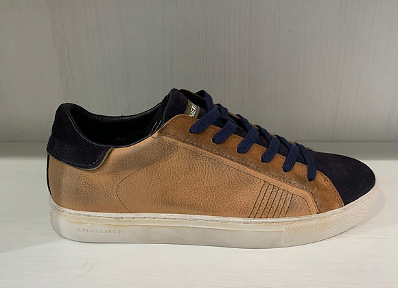 Sneakers bassa essential pelle beige nera Crime London
